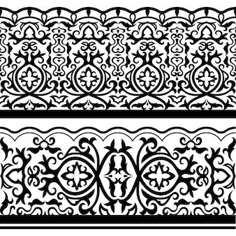Fronteiras de ornanetal preto sem costura árabe tradicional