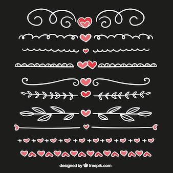Fronteiras embalar com corações desenhados mão detalhe