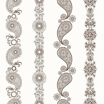 Fronteiras ornamentais de hena mehndi
