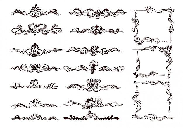 Fronteiras ornamentais e cantos de florescer