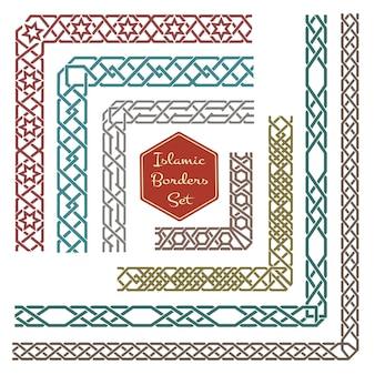 Fronteiras ornamentais islâmicas com cantos. borda de padrão, ornamento de padrão de canto, ilustração de borda de canto decorativa