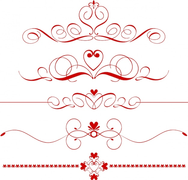 Fronteiras românticas, divisores ou separadores com corações de linha fina