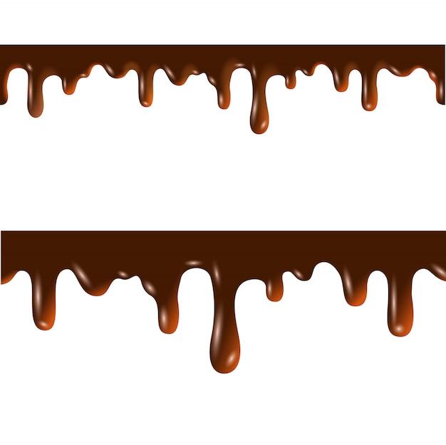 Fronteiras sem costura chocolate derretidas com máscara de recorte