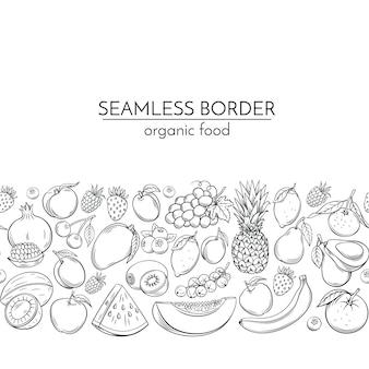 Fronteiras sem costura com frutas de mão desenhada