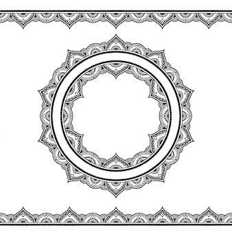 Fronteiras sem costura e ornamento circular em estilo étnico oriental.