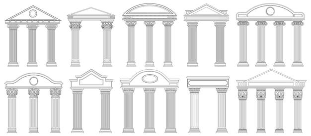 Frontões antigos. fachada de templo de arquitetura grega e romana com pilares antigos