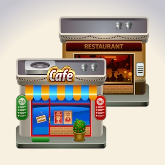 Frontstore de café e restaurante