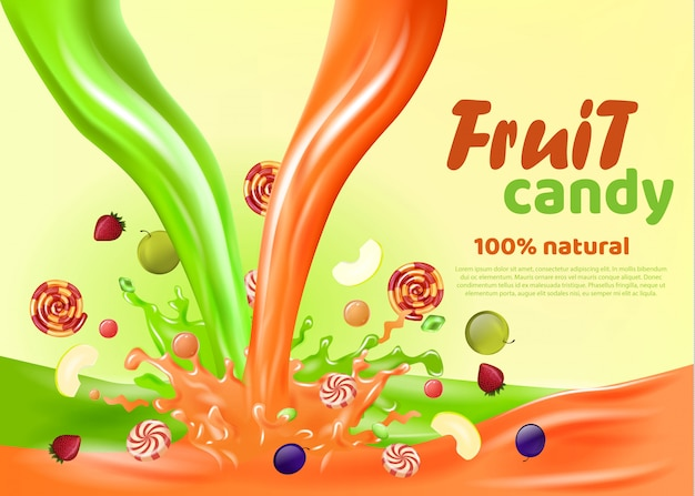 Fruit candy 100 por cento natural landing page.