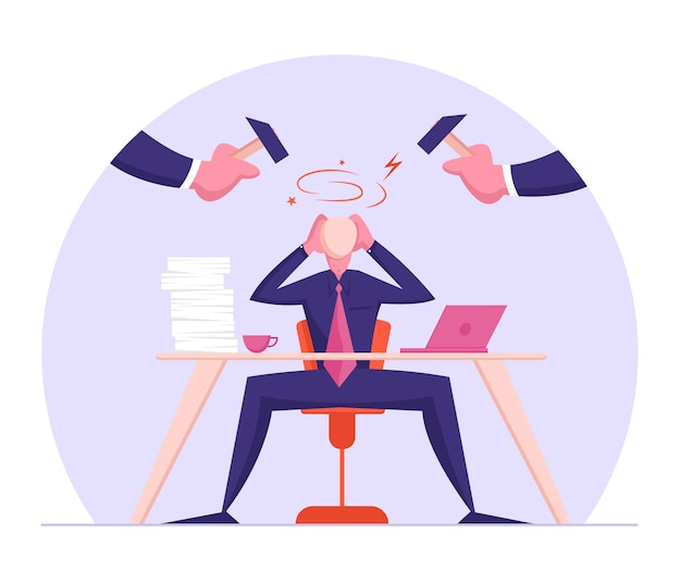 Frustração do trabalhador de escritório, empresário com problemas de carreira sentado