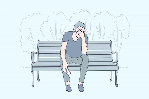 Frustração, estresse emocional, conceito de depressão