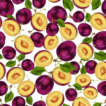 Fruta ameixa sem costura cortada ao meio com folhas de sementes e ilustração em vetor desenho mão suculenta padrão de carne desenhada