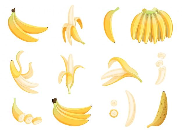 Fruta banana. comida de sobremesa apetitosa comendo fotos de desenhos animados