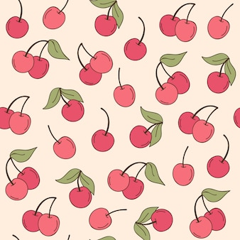 Fruta cereja padrões mão desenhada