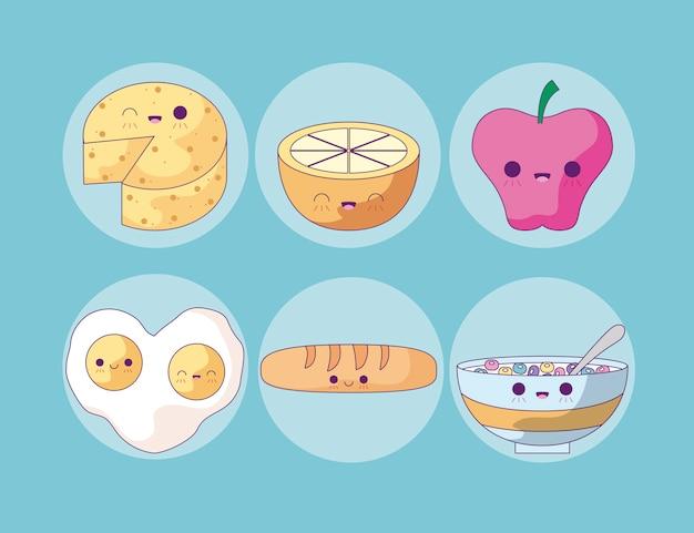 Fruta da maçã com estilo kawaii conjunto de alimentos