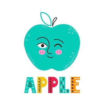 Fruta da maçã de sorriso feliz fofo.
