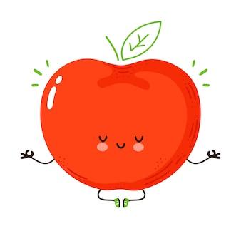 Fruta da maçã engraçada bonita meditar em pose de ioga. mão desenhada cartoon kawaii personagem ilustração. isolado em um fundo branco. conceito de meditar maçã