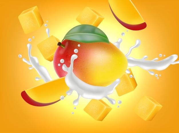 Fruta da manga com respingo de leite