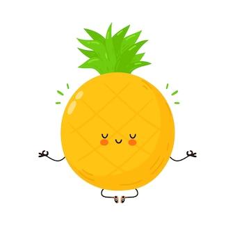Fruta de abacaxi engraçado bonito meditar em pose de ioga. mão desenhada cartoon kawaii personagem ilustração. isolado em um fundo branco. abacaxi fruta meditar conceito