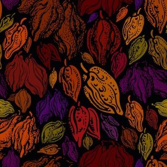 Fruta de cacau padrão sem emenda abstrato vagem selvagem exótica chocolate orgânico natural
