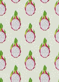 Fruta de dragão fatia sem costura padrão com sementes