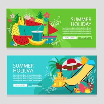 Fruta de férias de verão tema tropical banner modelo com ilustração em vetor estilo simples