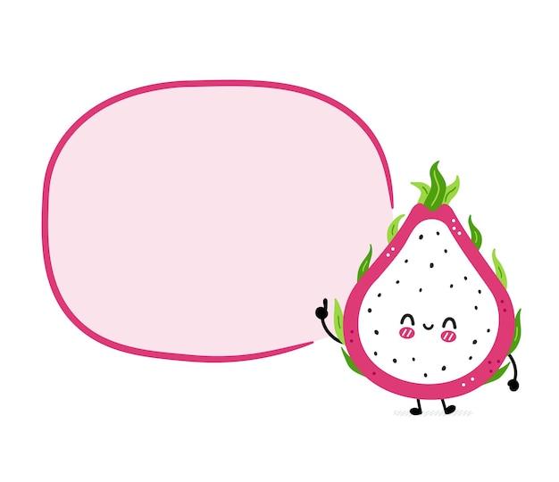 Fruta do dragão fofa e engraçada com balão de fala