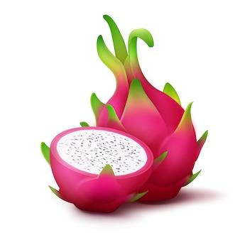 Fruta do dragão rosa vívida inteira e fatiada de vetor isolada no fundo branco
