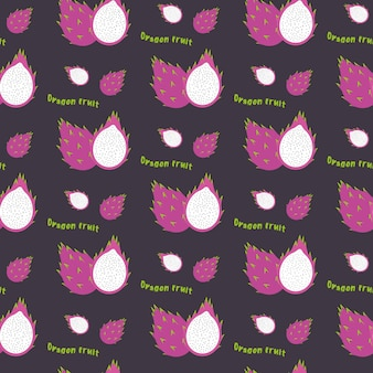 Fruta do dragão sem costura padrão de repetição, estilo desenhado à mão. exoti
