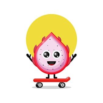Fruta do dragão skate personagem fofa mascote