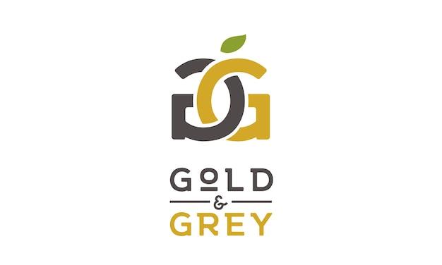 Fruta dourada e design inicial do logótipo g