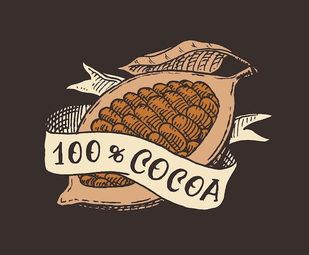 Fruta e fita de cacau. feijões ou grãos. emblema vintage ou logotipo para camisetas, tipografia, loja ou letreiros. esboço gravado desenhado de mão.