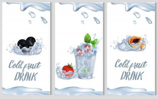 Fruta fria bebida promoção cartaz ilustração vetorial
