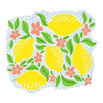 Fruta limão cravejada de bolinhas azuis. coleção de frutas cítricas de verão com limões, folhas e flores de flor. impressão abstrata tropical isolada no fundo branco. ilustração vetorial para banner, pôster