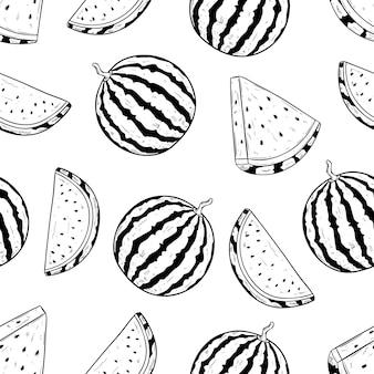 Fruta melancia no padrão sem emenda com esboço ou mão desenhada estilo