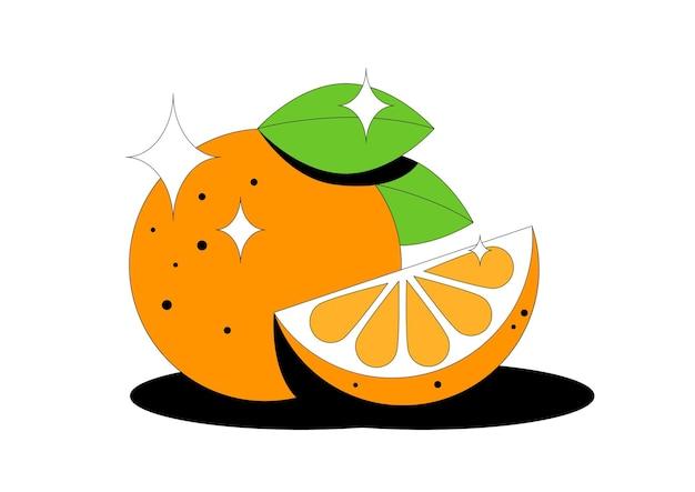 Fruta orangotango corte a fatia e as folhas da fruta laranja isoladas no fundo branco