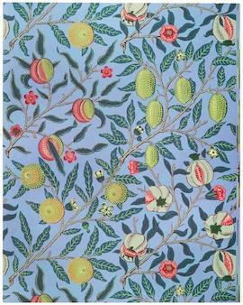 Fruta ou romã de william morris. aprimorado digitalmente e otimizado por rawpixel.
