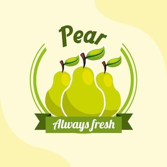 Fruta pêra sempre fresco emblema