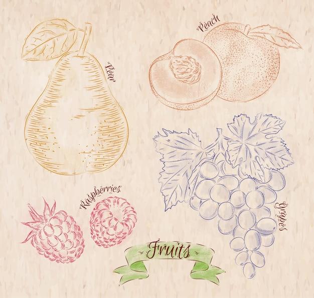 Fruta pintada em cores diferentes em uma pêra estilo country, pêssego, framboesa, uva