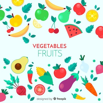 Fruta plana e fundo vegetal