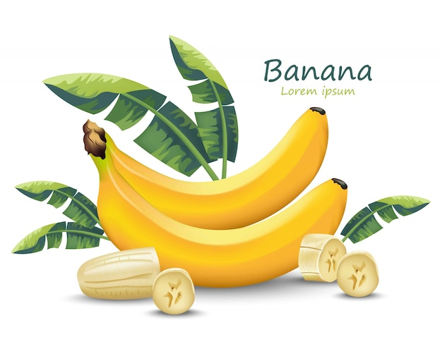 Fruta realista de banana isolada no branco