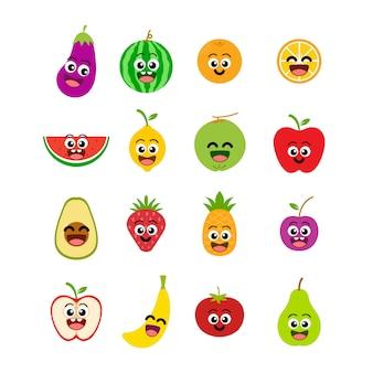 Fruta sorriso emoticon conjunto ilustração vetorial
