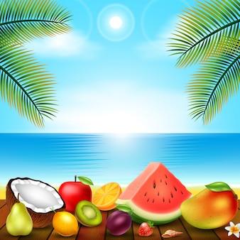 Fruta tropical colocada na varanda de madeira
