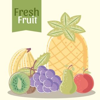 Frutas, abacaxi maçã pêra uvas banana e kiwi ilustração fresca