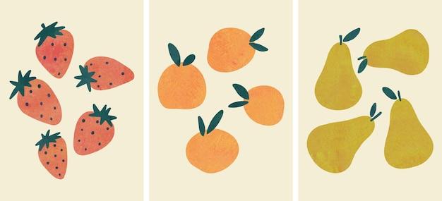 Frutas abstratas desenhadas à mão, arte botânica do ramo boho