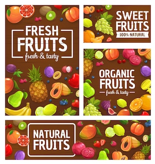 Frutas, bagas, mercado de fazenda tropical, comida de jardim, abacaxi, laranja e maçãs