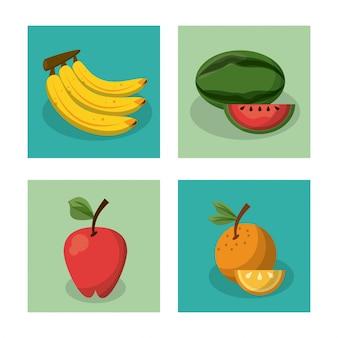 Frutas banana e melancia maçã e laranja