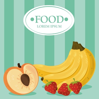 Frutas banana pêssego e morango