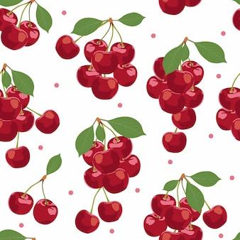 Frutas cereja bando sem costura padrão, alimentos orgânicos frescos