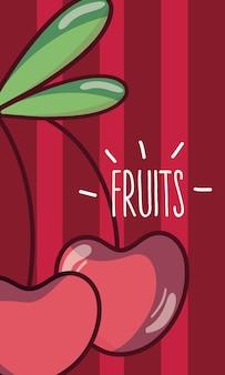 Frutas cereja cartoon ilustração vetorial design gráfico