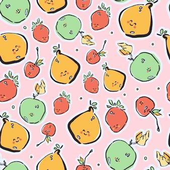 Frutas coloridas desenhadas à mão em padrão sem emenda de vetor